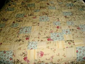 RACHEL ASHWELL SHABBY CHIC YELLOW PINK GREEN FLORAL PRINT PATCHWORK QUILT