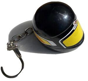 Porte clé vintage de motard pub, GUILOY, casque intégral noir, motard, moto RARE