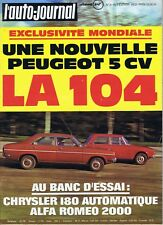 L'auto-journal 3 15/02/1972 Peugeot 104 Chrysler 180 Alfa Roméo 2000 Monte-Carlo
