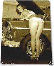 """TIN SIGN """"Work Heels"""" Pin-up Metal Decor Wall Art Hot Rod Garage Shop Cave A010"""