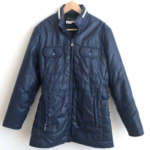 Vintage Obermeyer Womens Size M / L Blue Ski Snow Jacket w/ Hood Made Hong Kong