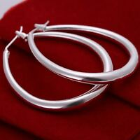Hot Xmas 925 Sterling Silver Plated Women Large Hoop Dangle Earrings Jewelry