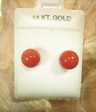7.5MM GENUINE NATURAL ROUND BALL RED CORAL SOLID 14K YELLOW GOLD STUD EARRINGS