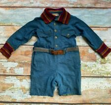 Vtg 1940s Kaynee suit one piece bodysuit blue knit toddler size 3