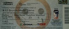 mint TICKET Platz 3 Eishockey WM 17.5.2015 Tschechien - USA  in Prag