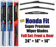 Top-of-the-line Wipers 3pk Front & Rear - fit 2007-2008 Honda Fit 16240/140/14B