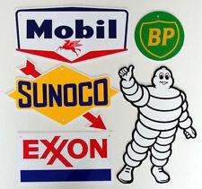 Gas & Oil Logo Signs - 5 PIECES - Aluminum - NASCAR Garage - USA - FREE SHIPPING