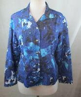 CHICO`S 1 Womens Button Down Top Shirt, Size M, Snap Buttons, Floral, E112