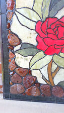 """ROSE 18x24"""" Framed Genuine Agate & Jade Stained Glass Window Panel 190 Pcs $350."""