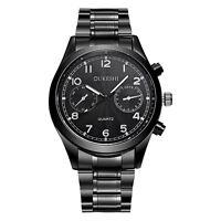 Luxus Mode Sport Herrenuhr Armbanduhr Schwarz Edelstahl Quarz Wrist Watch NEUE