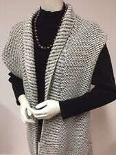 CHICO'S Size 1 (SM) Knitted Long VEST Shawl Collar Gray Metallic