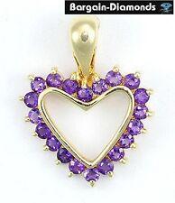 amethyst heart 14K gold pendant necklace enhancer love promise birthstone purple