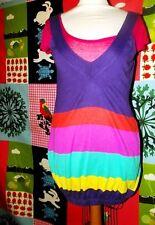 BENETTON ROBE TUNIQUE DRESS FINE LAINE BALLOON BAYADERE TS OU 36/40