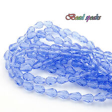 40 pcs 7×5 mm Small Light Blue Faceted Teardrop Glass Crystal Beads CS212