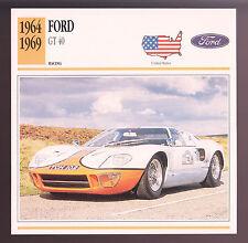 1964-1969 Ford GT-40 GT40 1075 Race Car Photo Spec CARD 1964 1965 1966 1967 1968
