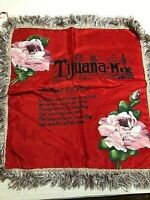 Vintage Pillow Cover from Tijuana  Mex a Poem to Mother & Dad w/ Painted Flowers