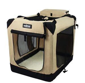 elitefield 3-door folding soft dog crate biege 30L X  21W X 24H