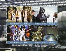 Chad 2018 CTO Star Wars Darth Vader Luke Skywalker Han Solo R2D2 4v M/S Stamps