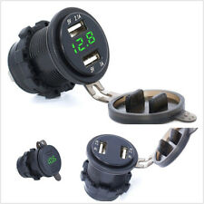12V 3.1A Motorcycle ATV Dual USB Charger Adapter Green LED Voltage Voltmeter Kit