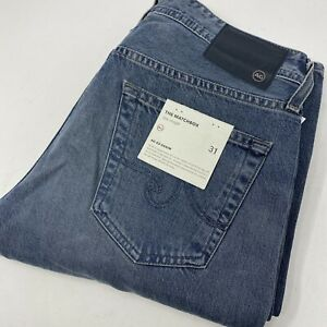 AG Adriano Goldschmied Men's 31 Matchbox Slim Straight Destroyed Blue Jeans New
