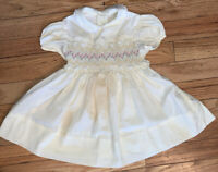 VTG 1980's Polly Flinders Smocked Yellow Toddler Dress Hand Smocked Ruffle Sz 2