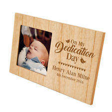 Personalised Dedication Wooden Photo Frame Picture Keepsake Baby Religious Gift