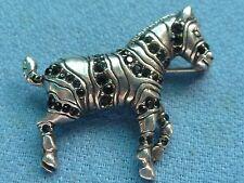 Sterling Silver Zebra Black Onyx Multiple Gem Stone Pin Animal Safari Africa