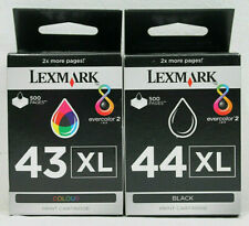 Lexmaark 43XL + 44XL Genuine X4850 X4950 X6570 Z1520 Blk & Clr Ink Cartridges