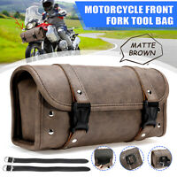 Motorcycle Side Front Fork Tool Bag Barrel Roll Luggage PU Leather Univesal