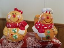 MR MRS GINGERBREAD FIGURES  SALT AND PEPPER SHAKERS NEW EXTRA STOPPER CHRISTMAS
