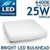 NEW Bright 25w 2D LED Square Light Indoor Outdoor Bulkhead Wall Ceiling 6400K