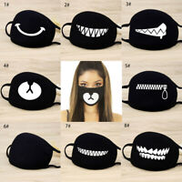 Cartoon Face Mask Cover Funny Unisex Teeth Mouth Cotton Printed Washable Lot.