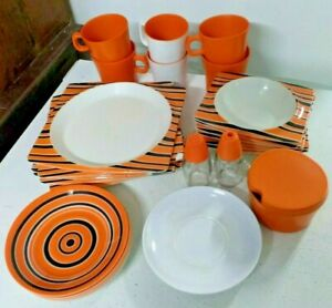 BESSEMER Europa melmac orange 27 pce set plates bowls cups picnic caravan retro