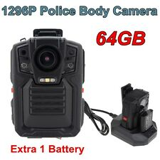 1296P Body Personal Security &Police Camera Night Vision 8-hour Record 64GB DVR