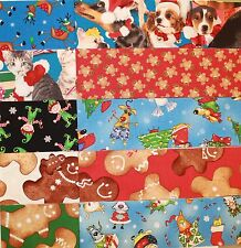 "CHRISTMAS STRIPS - Dog Cat Reindeer Gingerbread - Jelly Roll Strips 2.5"" x WOF"