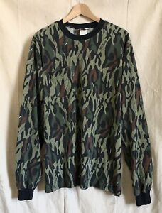 Vintage Clarkfield Outdoors SHADOW-CAMO  Long-Sleeve Ringer T-Shirt USA Rare XL