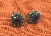 Vintage Sterling Earrings Silver 925 Persian Alexandrite Gemstone Dotted Clip On