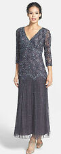 New PISARRO NIGHTS Beaded V Neck Mesh Dress Slate Gray 3/4 Sleeve Size 10 P