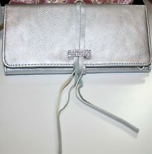 "SWAROVSKI Jewellery Roll Silver Leather Crystal Case Pouch Purse Clutch 8"" VGC"