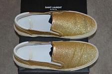 SAINT LAURENT ORO GLITTER TESSUTO Sneaker Slip On Piatte Scarpe da Ginnastica Donna EU 36 UK 2