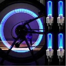 4 X Blue Car Bicycle Bike Wheel Tire Valve Cap Led Flash Light Neon Lamp