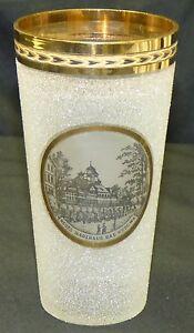 Antique Victorian Spa Souvenir Glass Tumbler w/ Gold Bad Kudowa Germany Poland