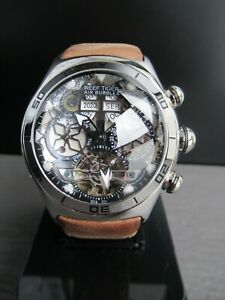 Reef Tiger Mens Sport Automatic Skeleton Watches Brown Strap Steel Steampunk UK