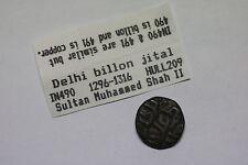 INDIA DELHI BILLON FALS 1296 MUHAMMED SHAH II NICE DETAILS A60 #K4119
