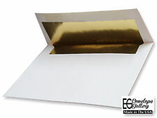 100 Boxed A7 70lb Envelopes White Gold Foil Lined for 5X7 Wedding Invitation