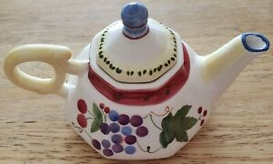 Single Serve 8-Sided White Porcelain Teapot Grape Design Blue/Red/Yellow Accent