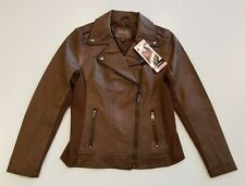 SEBBY COLLECTION Women's Whiskey Faux Leather Jacket XL Collared Coat NWT