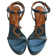 736b50743958 Christian Dior Denim Embroidered Wedge T Strap Sandal 39.5 EU or 9.5 US