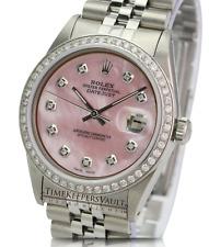 Rolex Men's Watch 36mm Datejust Stainless Steel Pink MOP Diamond Diamond Bezel