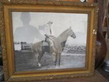 Cadre ancien vieux papier cavalier cheval haras chevaux argentine